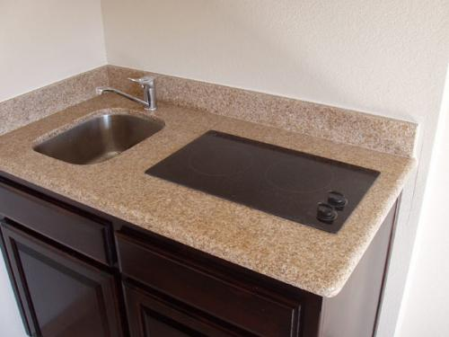 Kitchenette top sink and cook top